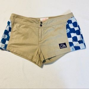 Quicksilver Tan and Blue Checkerboard Shorts Sz 3